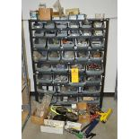 Mixed lot of nuts and bolts, shackles, etc. Includes shelf unit with bins