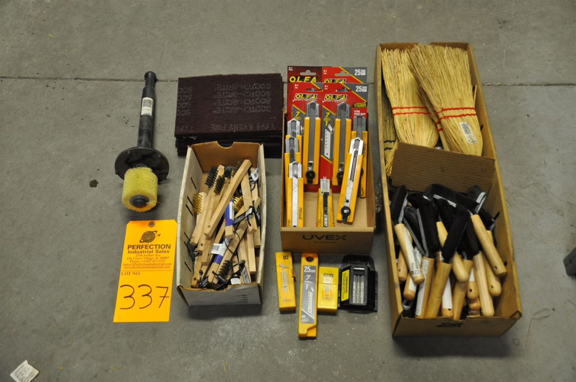 Assorted brushes, corn brooms, wire brushes, utility knives w/ spare blades