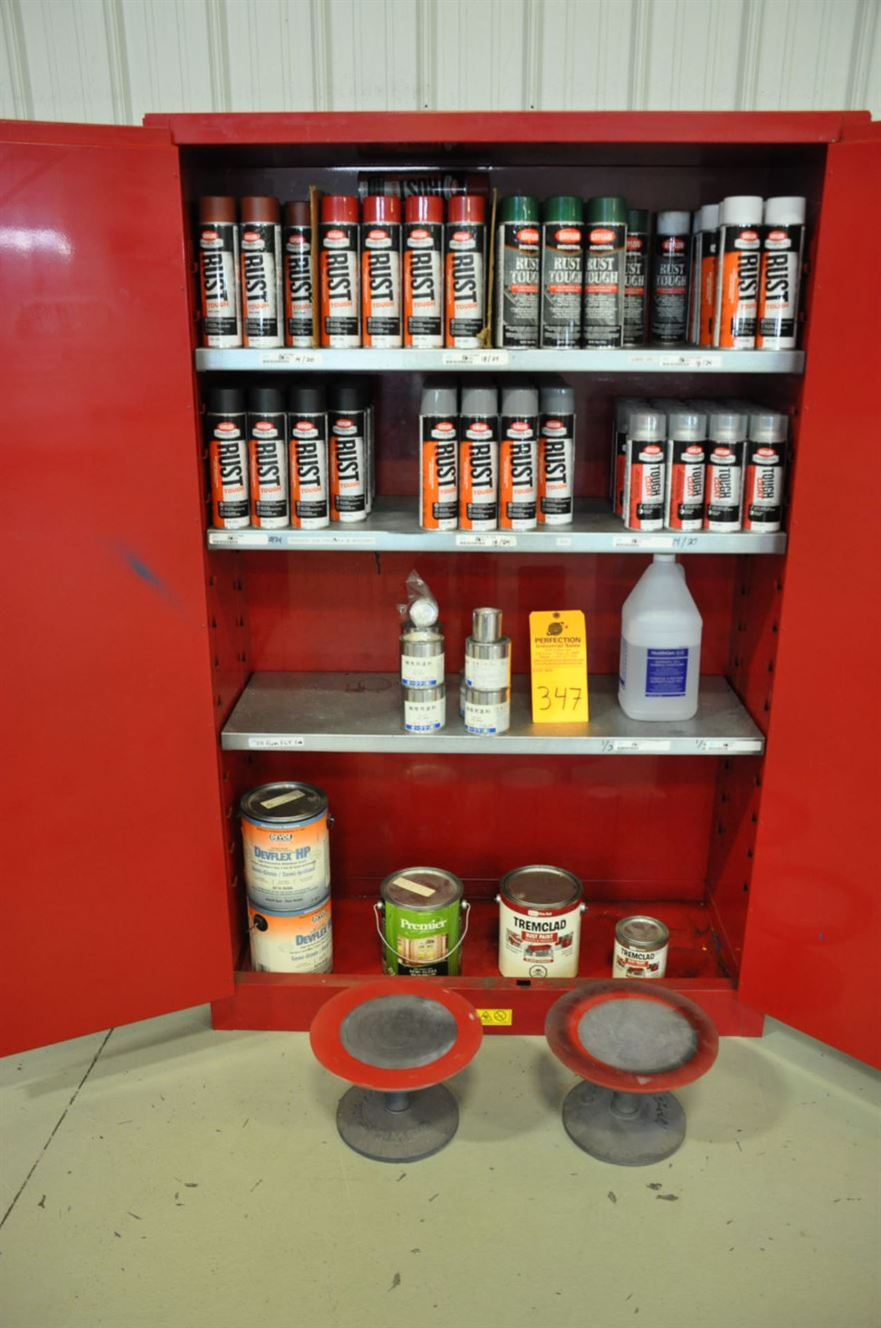 (14) cans of Krylon rust primer, (20) cans of top coat lacquer, Approx. (90) cans of assorted rust