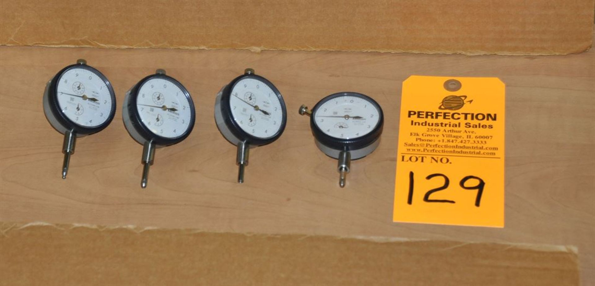 "(4) Mitutoyo 0.0001"" x 0.500"" dial indicators"