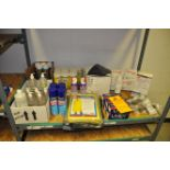 Mixed lot of cleaners, hand sanitizer, safety glasses and cleaner, garbage bags