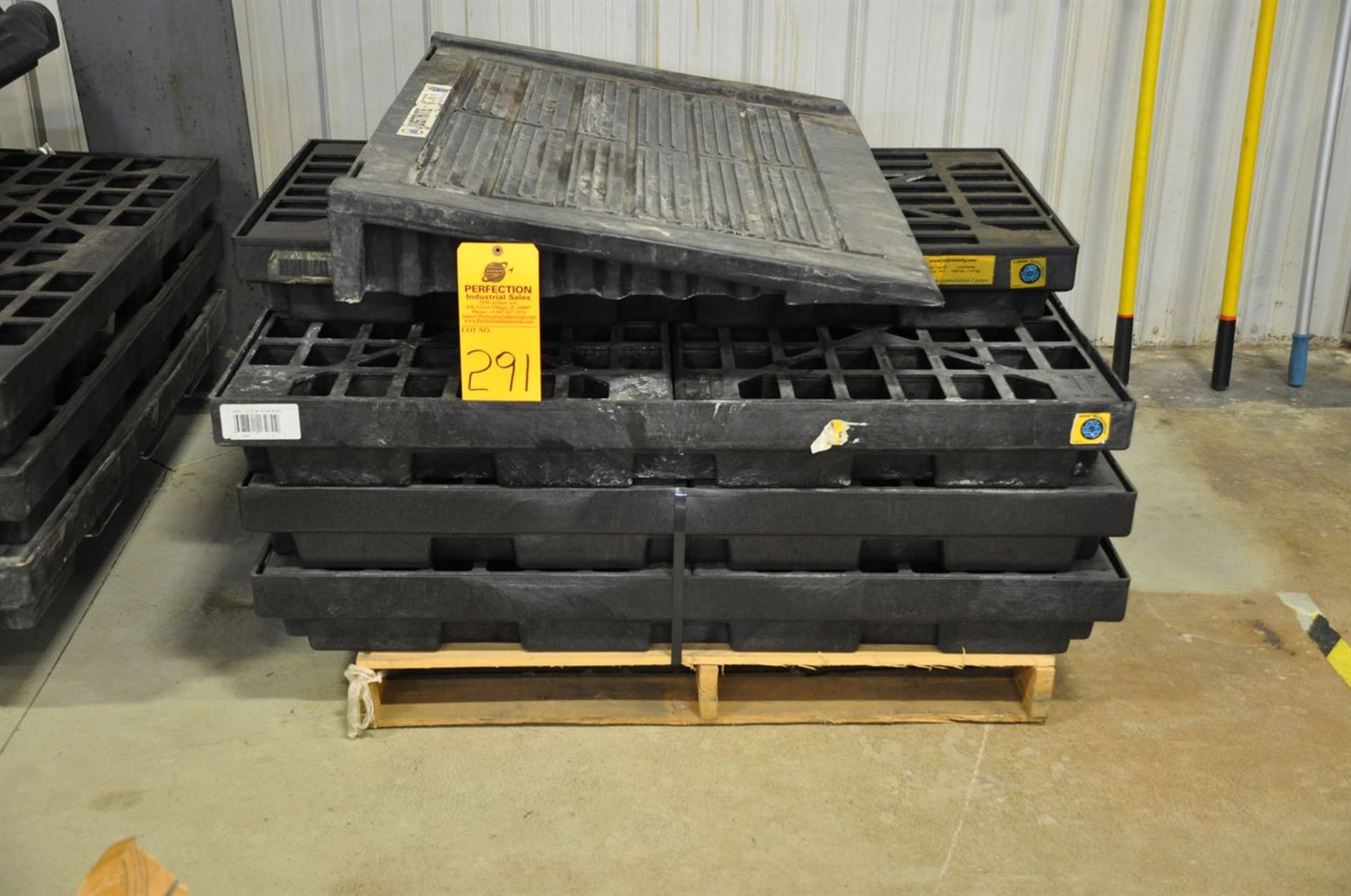 Spill Containment Pallets, (3) for 4 drums; (1) for 2 drums