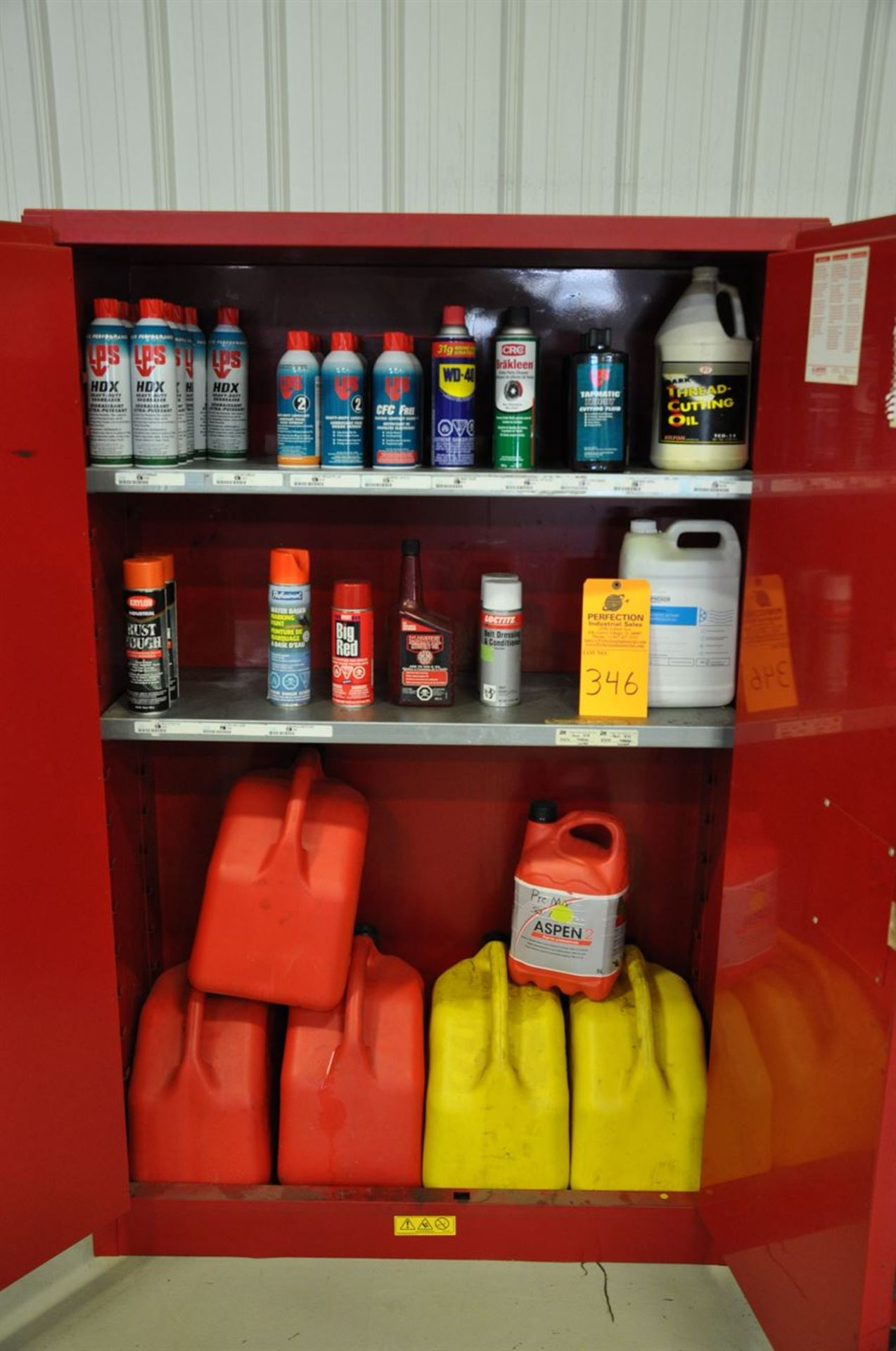"""(12) cans of LPS Degreaser, assorted lubricants and cleaners, gasoline and Diesel """"Jerry Cans""""."""