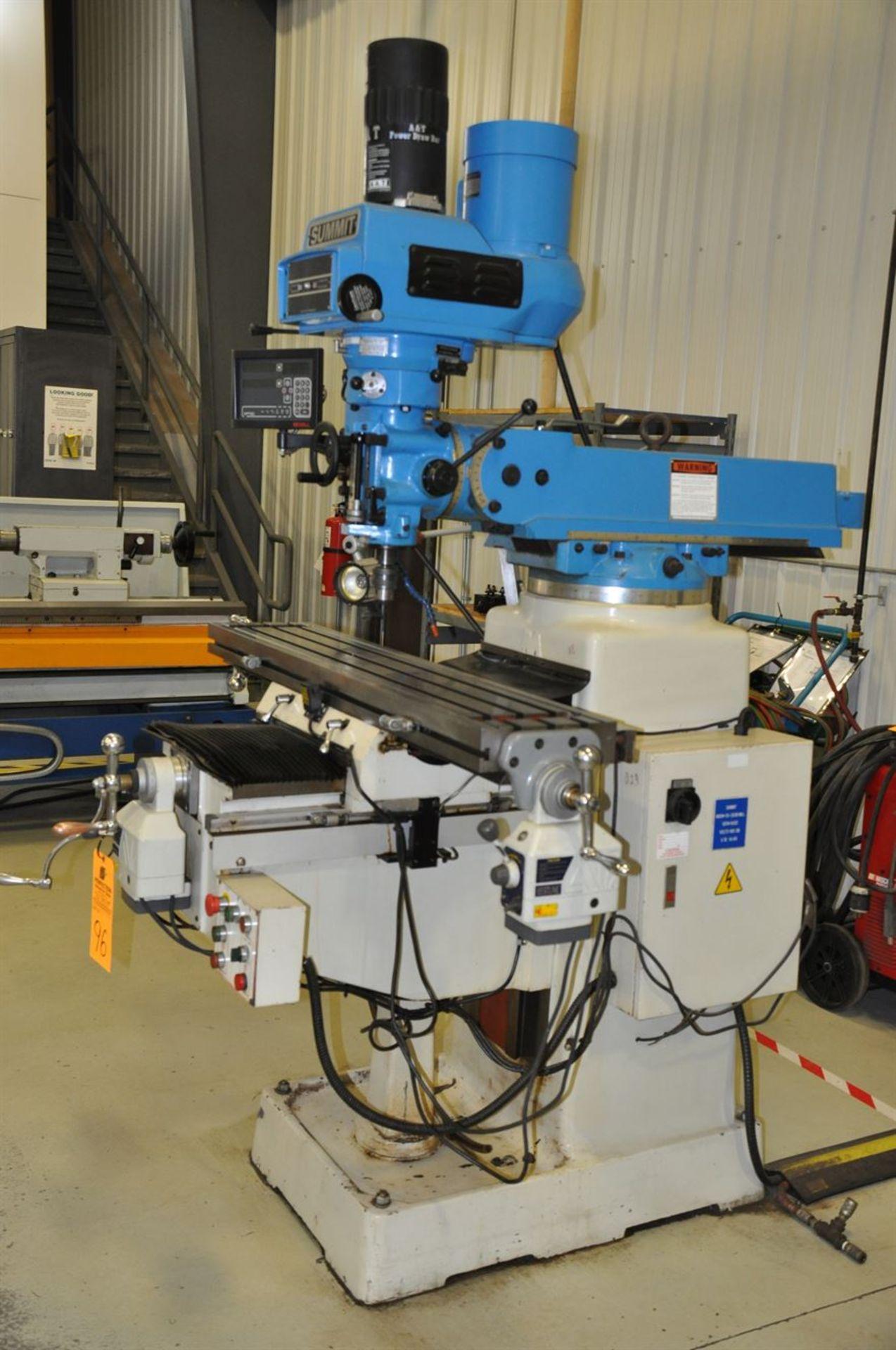 2012 SUMMIT VS-350B 3 hp Mill, s/n 8052, w/ 3 Axis Power Table, 50-4200 Vari-Speed RPM, NEWALL DP700 - Image 2 of 2