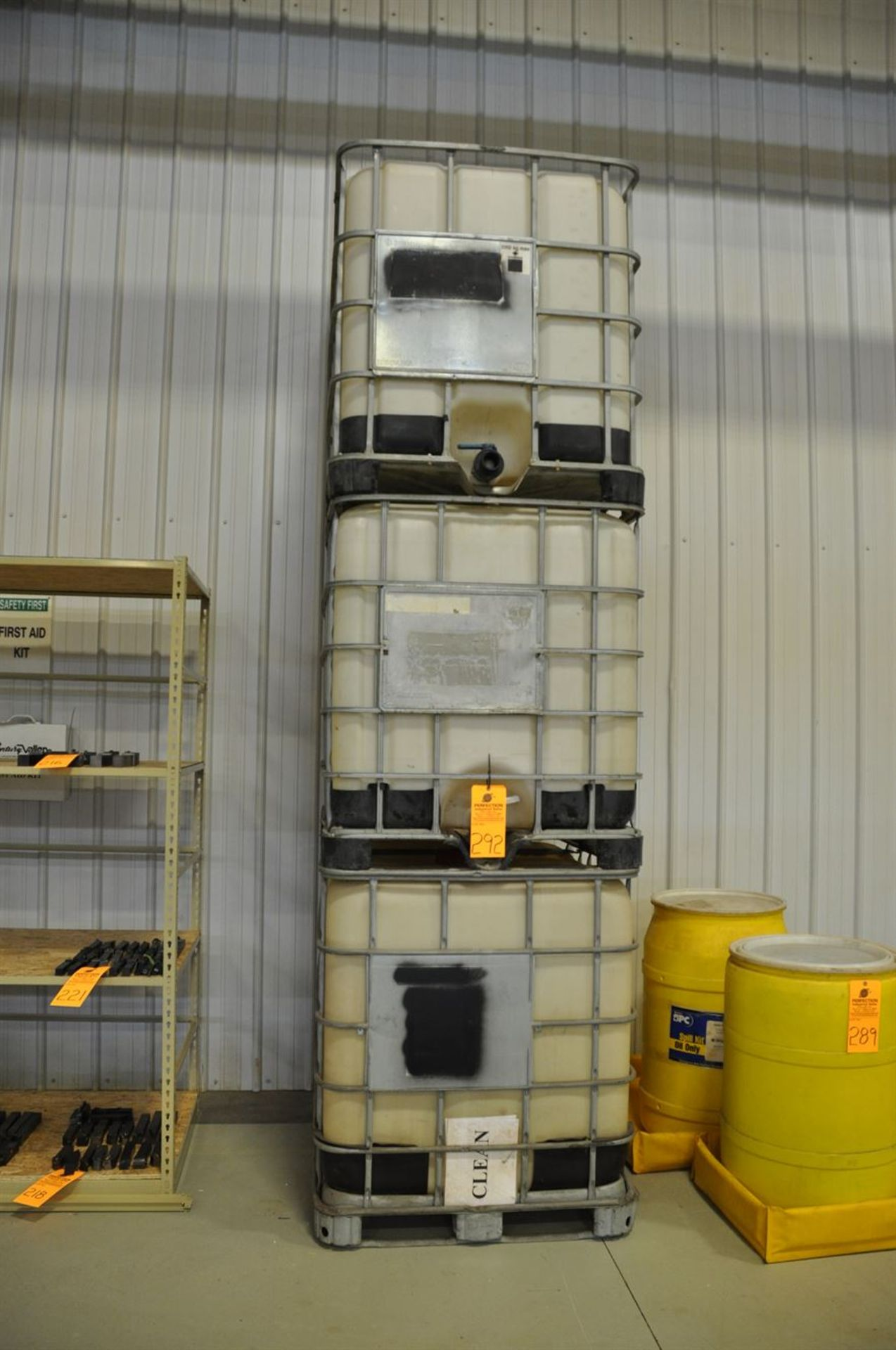 (3) Tote bins, 1000 litre, Note: washed but may contain residual oil and/or glycol