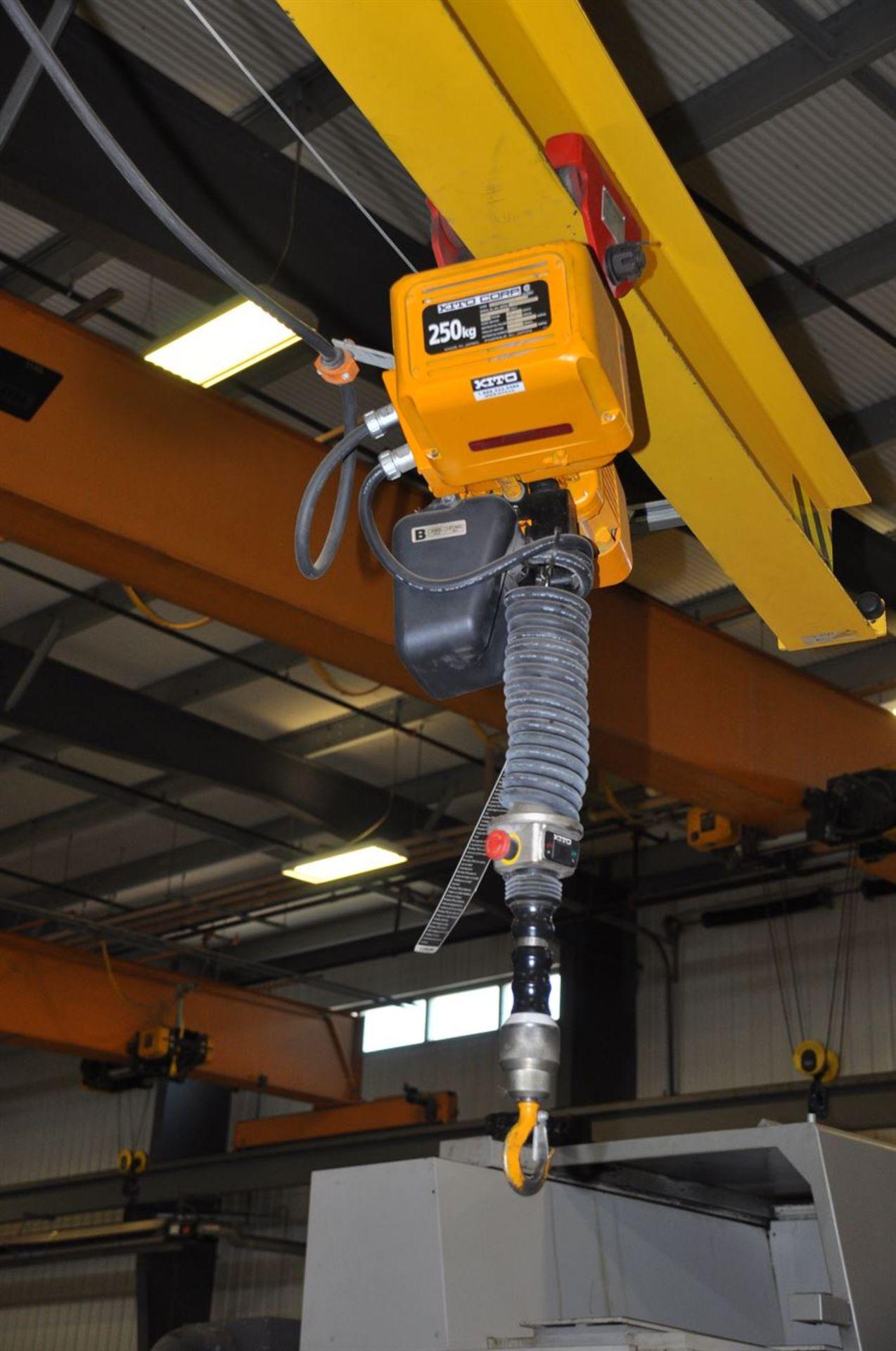 O'BRIEN 500 lb Free Standing Jib Crane, w/ KITO 250 Electric Chain Hoist