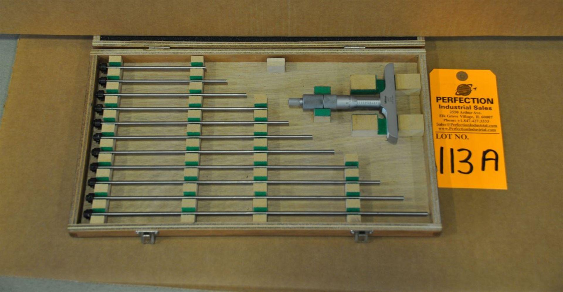 """Mitutoyo 0-12"""", 0.001"""" res, depth micrometer set"""