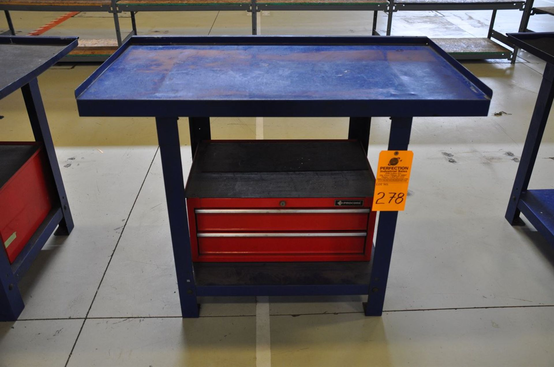 """Metal Bench, 26""""x45"""" w/ shelf and attached 2 drawer tool box"""