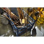 Assorted brooms and shovels, excludes basket/cage