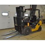 "2012 KOMATSU FG25T-16 8,500 lb. LPG Forklift, s/n A224476, w/ 188"" Tri-Mast, Side Shifter & Fork"