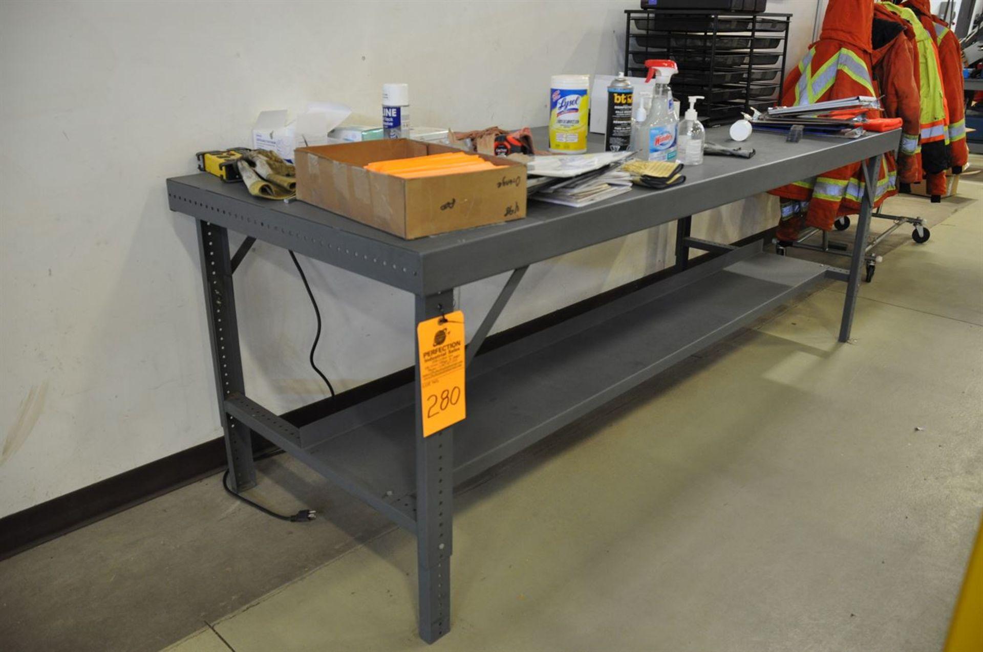"""Metal Bench, 36""""x96"""" w/ shelf"""
