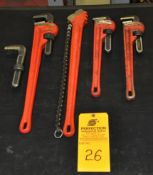 """(4) Ridgid Pipe and Chain wrenches (24"""" and 18"""""""")"""