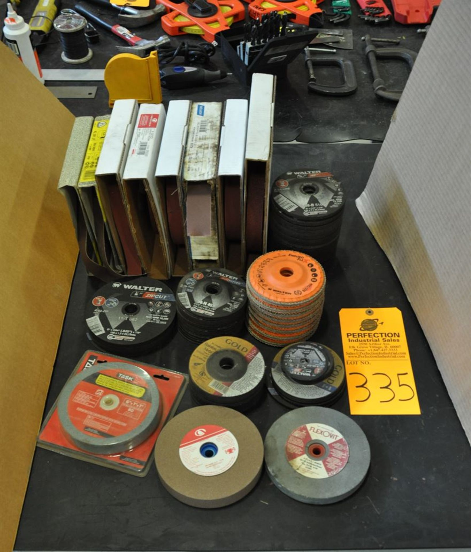 """Assorted rolls of Emery Cloth, 6"""" grinding wheels and grinding discs"""