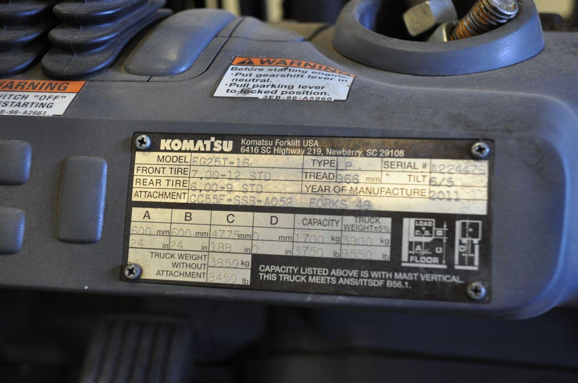 """2012 KOMATSU FG25T-16 8,500 lb. LPG Forklift, s/n A224476, w/ 188"""" Tri-Mast, Side Shifter & Fork - Image 4 of 4"""