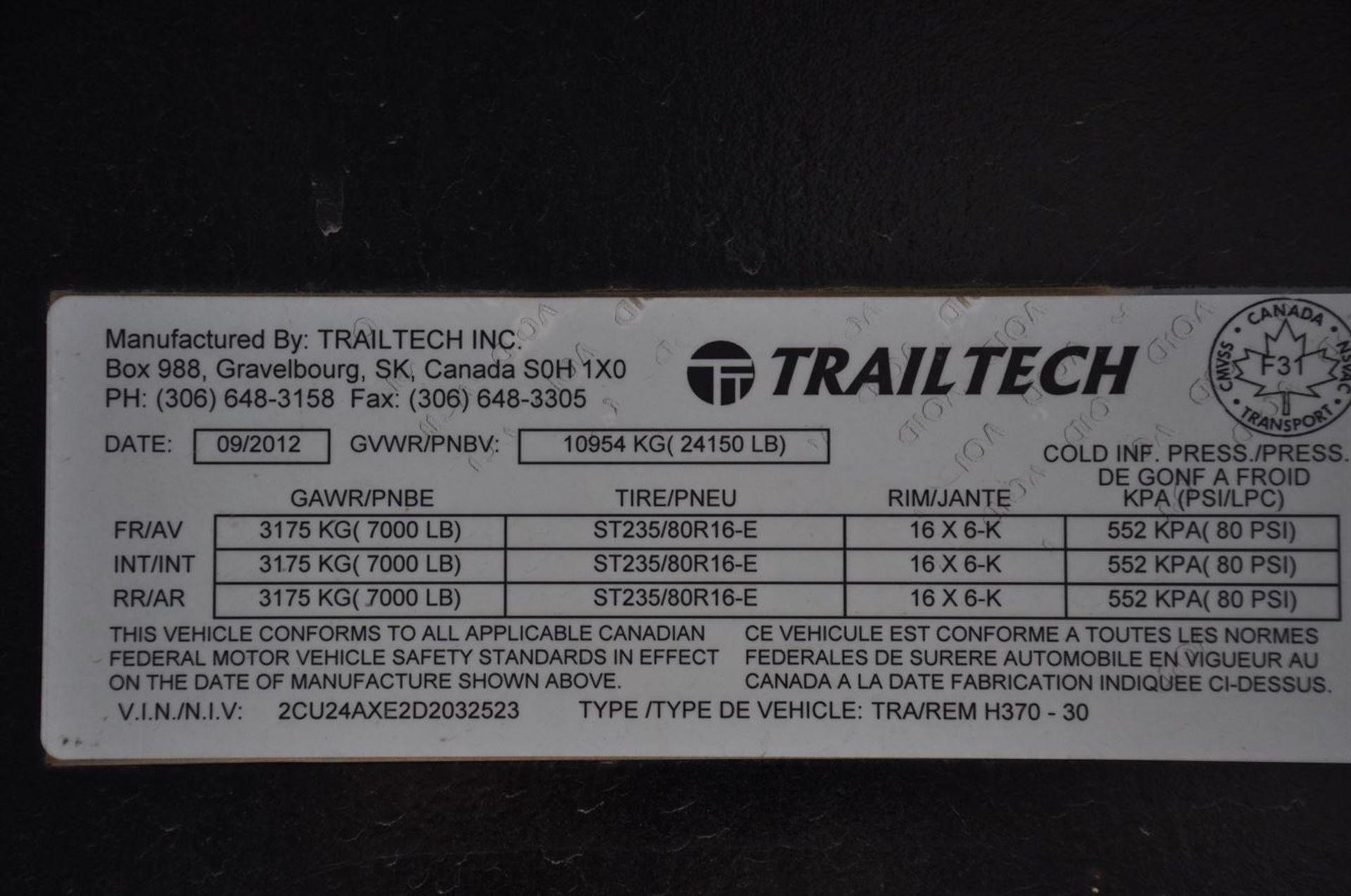 2013 TRAILTECH H370-30 Tri-Axle Gooseneck Trailer, VIN 2CU24AXE2D2032523, w/ 30' Wood Deck - Image 2 of 7