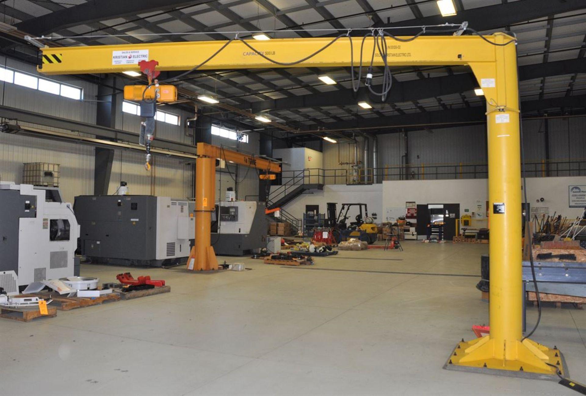 O'BRIEN 500 lb Free Standing Jib Crane, w/ KITO 250 Electric Chain Hoist - Image 2 of 2