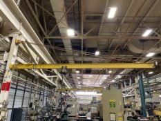 1/2 Ton Girder Mount Jib Crane, Approx. 24' Reach, w/ 1/2 Ton P & H Electric Hoist w/ Pendant