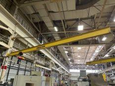 HS 1/2 Ton Girder Mount Jib Crane, Approx. 24' Reach, w/ 1/2 Ton CM Lodestar Electric Hoist w/