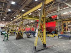 ABELL HOWE Free Standing Crane System, Approx. 30'W x 160'L x 14' Under Rail, (2) CM 5-Ton Hoists w/