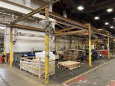 SPANCO Free Standing Crane, 16'W x 36'L x 11' Under Rail, w/ (2) 1/8 Ton CM Lodestar Electric Hoists