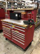 "Stor-Loc Modular Rolling Tool Cabinet, 60x30x65"", w/ Maple Top, w/ 4"" Wilton Bullet Vise, (15G)"
