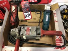 Lot of Assorted Electric Milwaukee and Makita Angle Grinders, (25G)