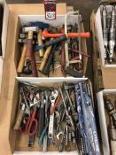Lot Misc. Hand Tools, Wrenches, Hammers, Snips, and Hack Saws, (7S)
