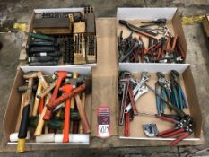 Lot Misc. Tools, Hammers, Mallets, Pliers, Snips, Assorted Letter, Number Stamps, (5G)