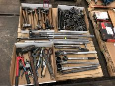 Lot Misc. Hand Tools, Large Sockets, Socket Wrenches, Ballpeen Hammers, Pliers (7S)
