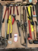 Lot Pipe Wrenches, Hammers, Cutters and Tube Benders, (7S)