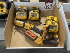 Lot Comprising DEWALT Cordless Flashlights and Chargers