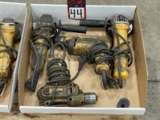 Lot of DEWALT Electric Drills and Angle Grinders