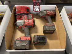 """Lot of (2) MILWAUKEE Cordless 1/2"""" Impacts w/ Battery and Charger"""