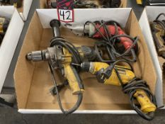 Lot Comprising (2) DEWALT Electric Drills and (1) MILWAUKEE 18 Ga Shear