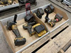 Lot Comprising Assorted DEWALT Cordless Drills, Grinder, Batteries and Charger