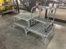 Lot Consisting of (3) Cotterman 24x24 Steel Platforms and (1) Uline 2-Step Ladder
