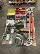 Pallet of Greenlee Knock out Punch Kits, Greenlee Fish Tapes, Conduit Benders and Assorted Crimps