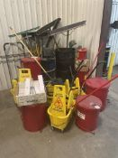Lot Consisting of Mop Buckets, Rag Buckets, Bessy MW-1 Magnetic Cleaners, Hand Held Floor Sweeper