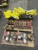 Pallet of Lifting Magnets, Multiton Moving Skates and Slings