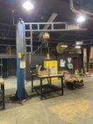 Gorbel 1/2 Ton Floor Mounted Jib with Harrington Electric Hoist 9' reach 10' under Arm