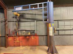Gorbel 1/2 Ton Floor Mounted Jib with Harrington Electric Hoist 9' reach 10' under Arm, s/n 512979