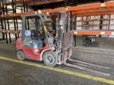 """Toyota Model 7FGCU25 LP Forklift, 3750 Lb Capacity, 189"""" Lift, 60"""""""" Forks, 3 Stage, Side Shift, Hard"""