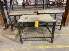 """Lot of (3) Approx 36"""" x 48"""" x 1/2"""" Steel Top Work Benches"""