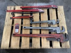 Lot of Pipe Wrenches, Chain Wrenches and Strap Wrench