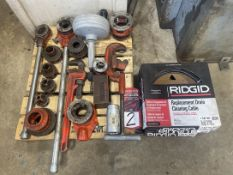 Lot Comprising Ridgid Pipe Threader Dies, Handles, Cleaning Cable and Pipe Wrench