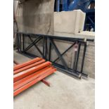 Pallet Racking (3) Uprights, (10) Beams, and (10) Sections of Wire Deck Shelves