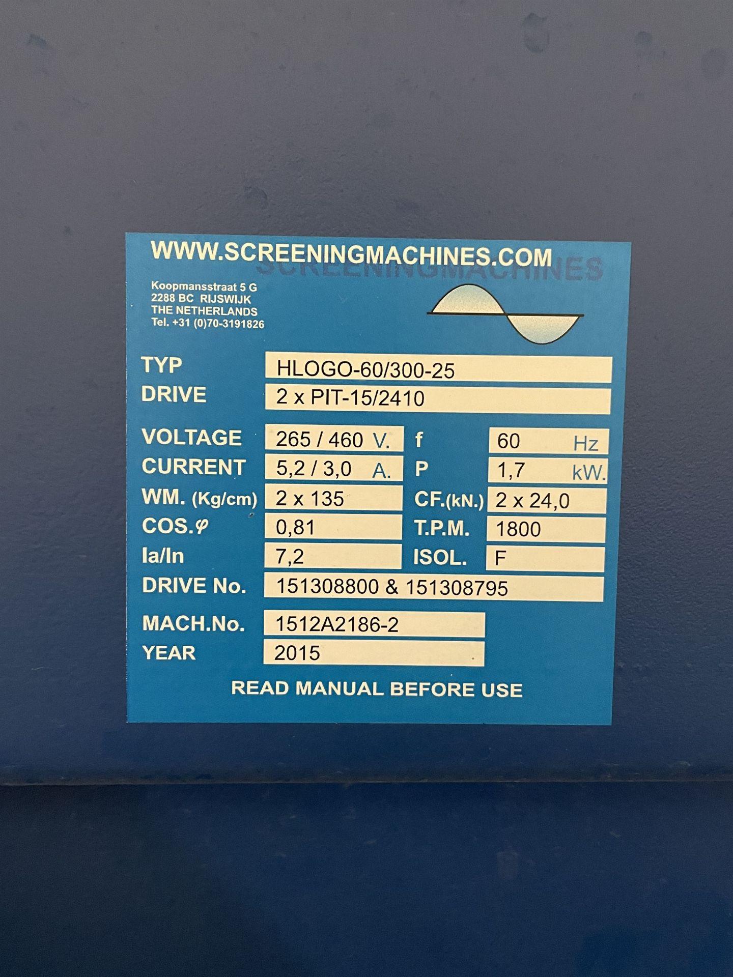2015 SCREENING MACHINES HLOGO-60/300-25 Shaker Screen, s/n 1512A2186-2, 600 x 3000 x 250mm - Image 6 of 10