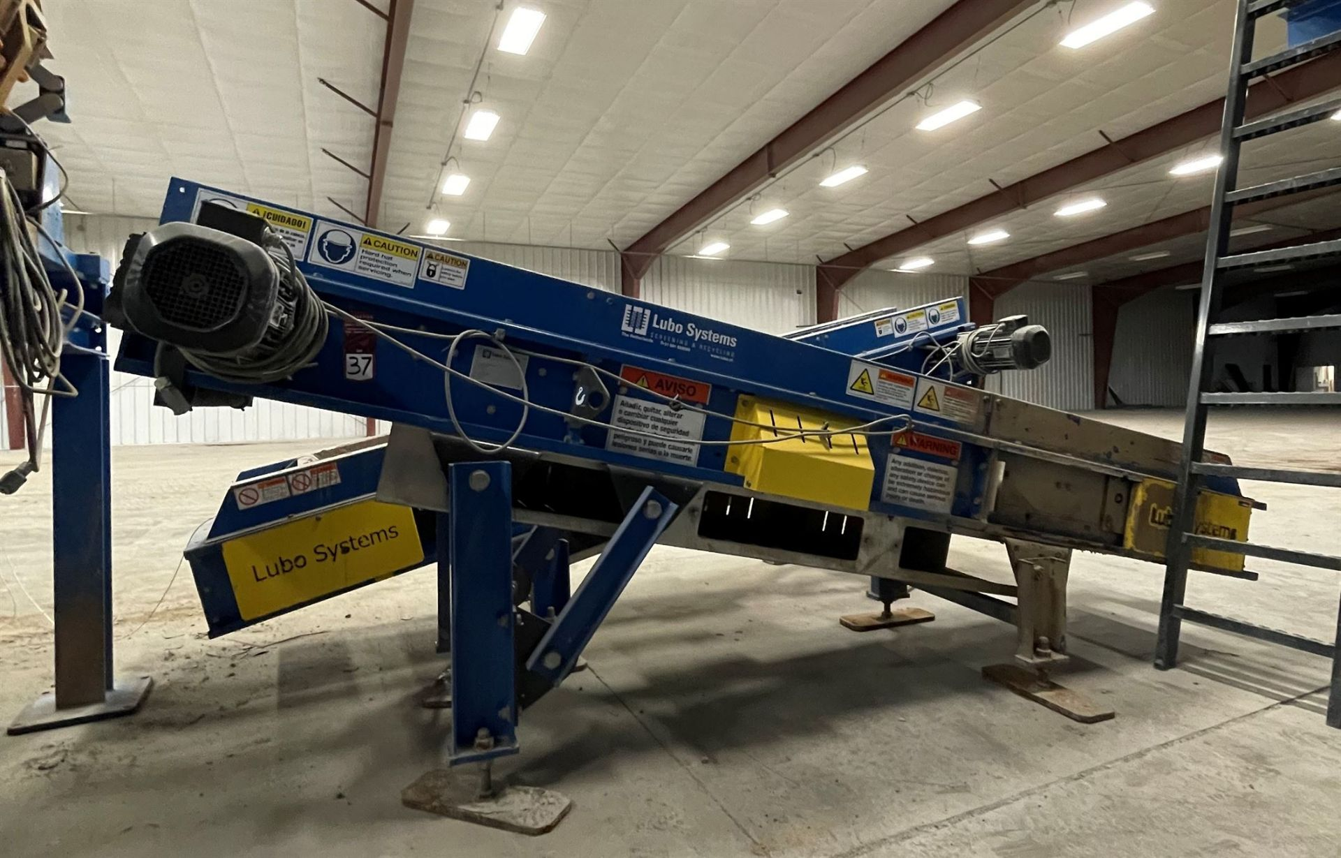 2015 LUBO SYSTEMS TBL 600x3500 Inclined Belt Conveyor, s/n 800108-0280, 600mm x 3500mm, SEW 3.7 kW