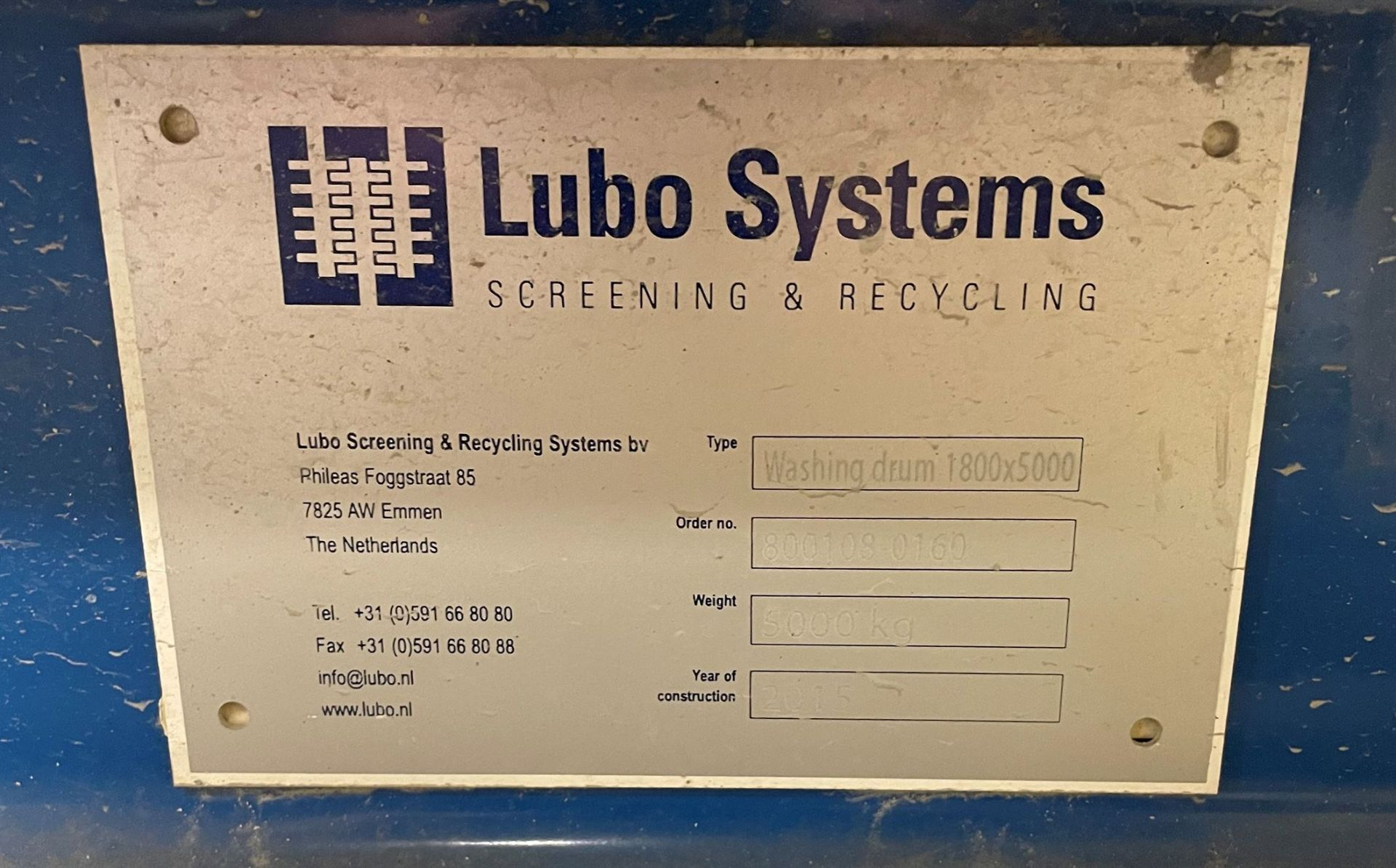 2015 LUBO SYSTEMS WASHING DRUM 1800x5000 Rotary Washing Drum, s/n 800108-0160, 1.8 m Drum - Image 6 of 6