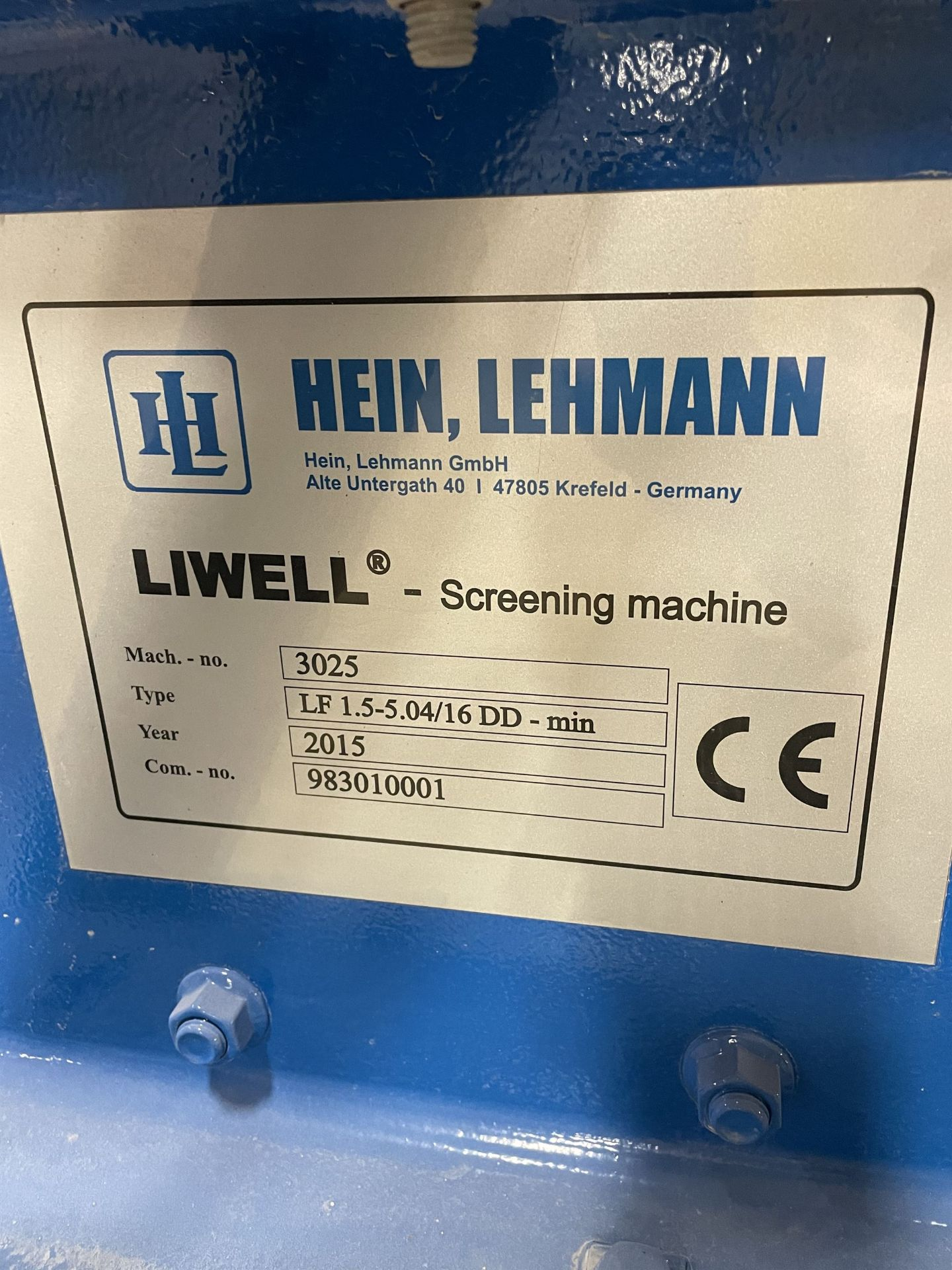 2015 HEIN LEHMANN LF 1.5-5.04/16 DD - min Screening Machine, s/n 3025 [Subject to Bulk Bid on Lot # - Image 5 of 5